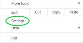 Chrome Settings Menu Entry
