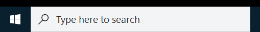 Screen capture of Win10 task bar search box