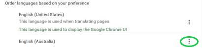 Chrome Settings Languages English (Australia) ellipses button